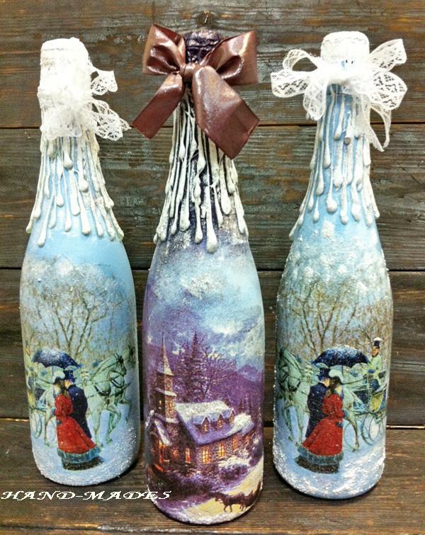 А мы уже готовимся! Декупаж новогодней бутылки! - Ярмарка Мастеров - ручная работа, handmade