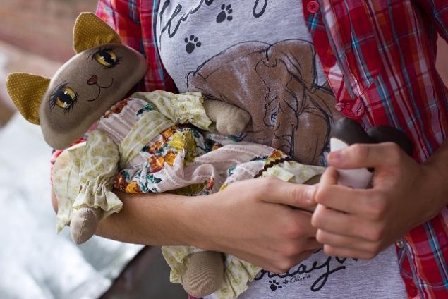 Мастер-класс   Текстильная кошка с расписными глазами., фото № 4