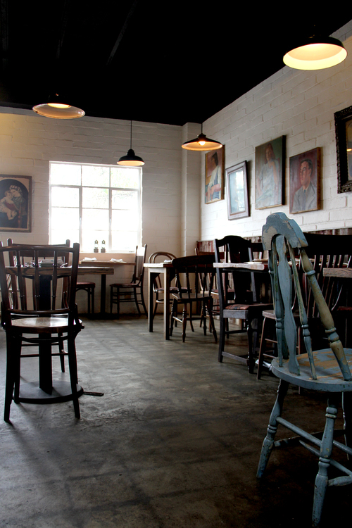There are over eighty chairs in this restaurant, and most of them were collected in the cross country drive, from states such as New York, Virginia, Tennessee, Oklahoma, Arkanses, Arizona, Texas, and California.