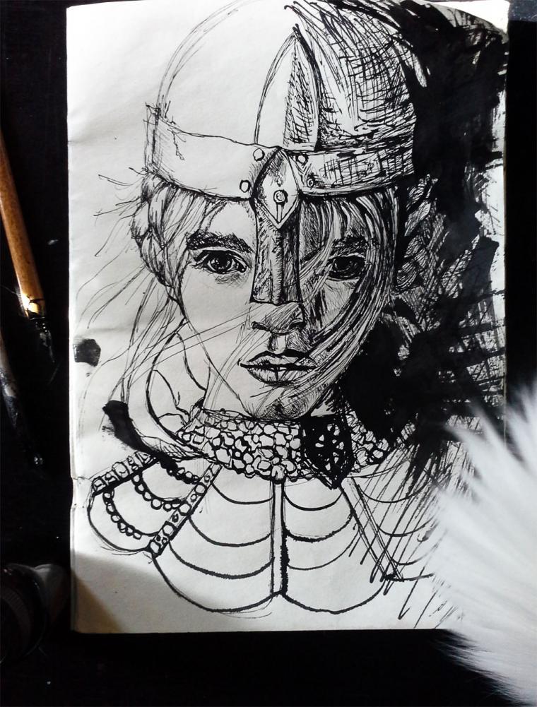 рисунок пером, воительница, с фото, рисунок для себя, быстрый рисунок