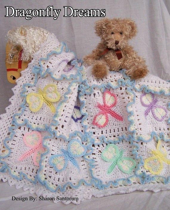Dragonfly Dreams Crochet Baby Afghan or Blanket Pattern PDF