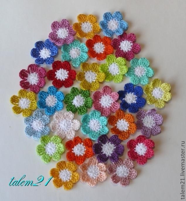 цветочки из остатков пряжи мастер класс для начинающих и
