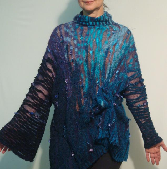 авторский трикотаж, свитер-туника, бирюзовый