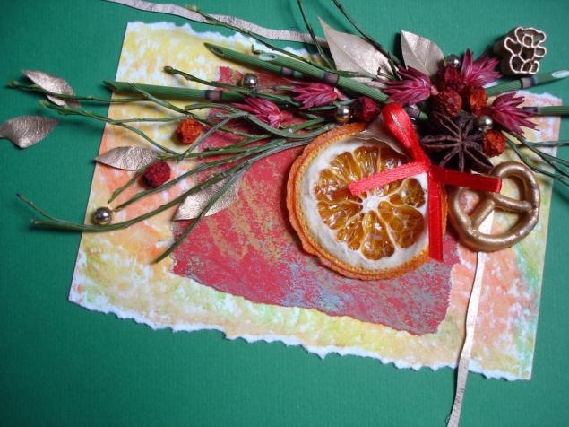 Флористическая открытка на рождество