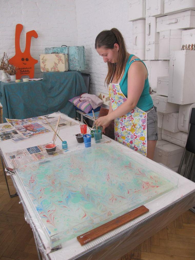 рисование на воде, картина, платок шёлковый