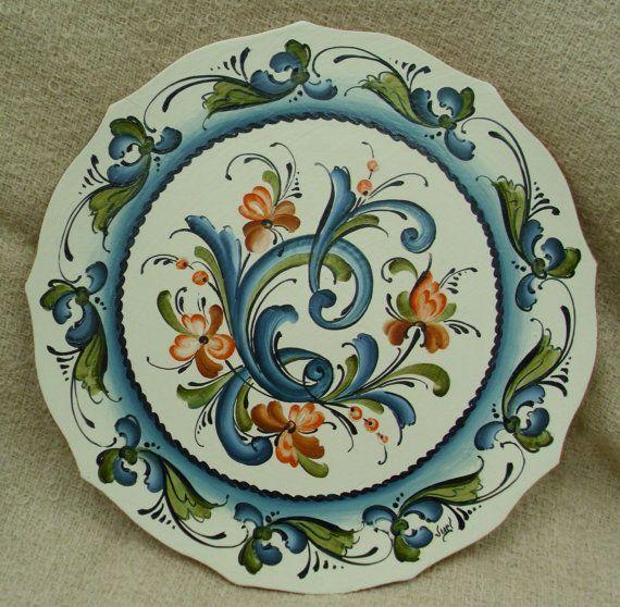 Lovely Telemark Style Rosemaled Scallopped Edge Wooden Plate on Etsy, $64.00