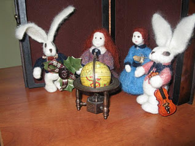 сухое валяние, валяние, игрушки из шерсти, подарки, зайцы, мастер-класс по валянию