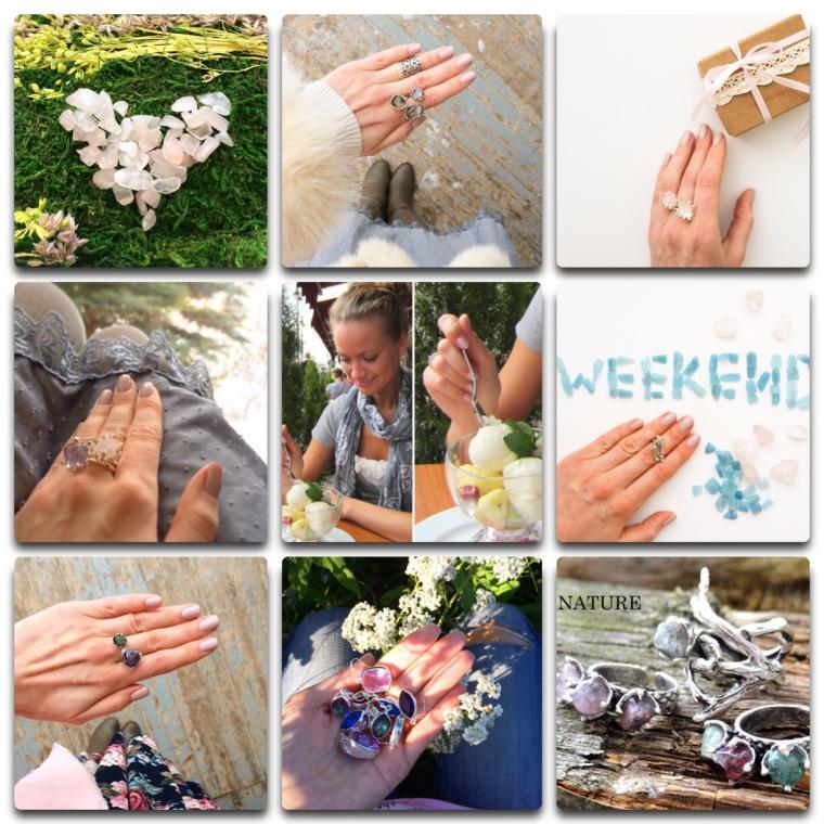кольцо, серьги ручной работы