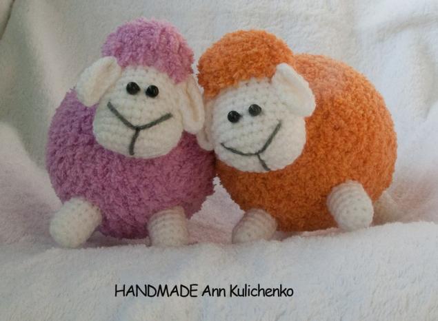 схема вязания игрушки, овечка