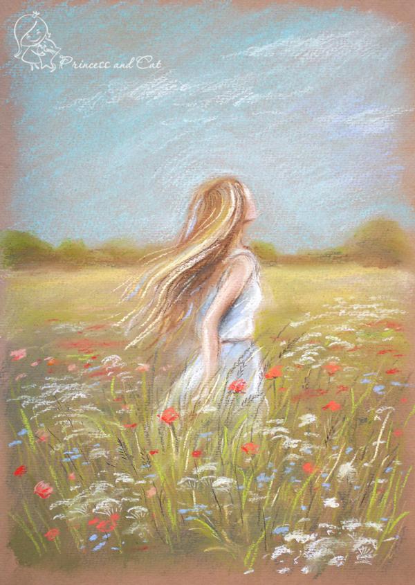 на лугу, летние травы, лаванда, картины в подарок