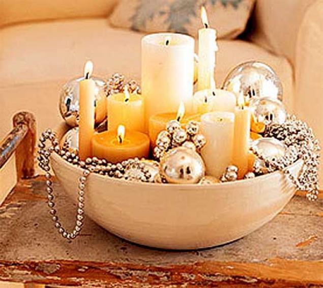 Как оформить свечи на новый гШары и
