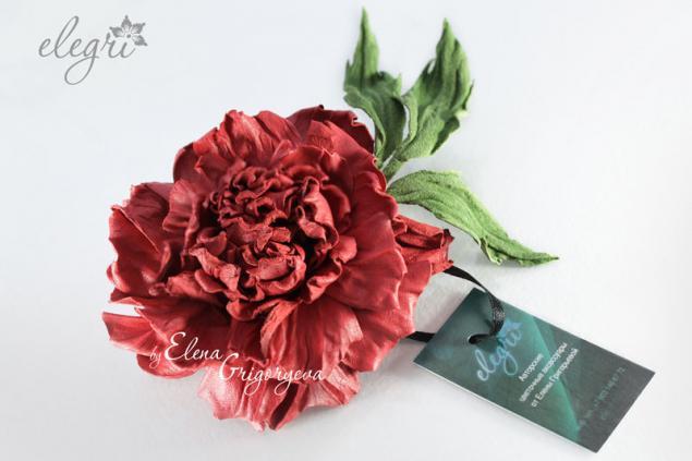 красная роза, роза кожаная, мастер-класс роза