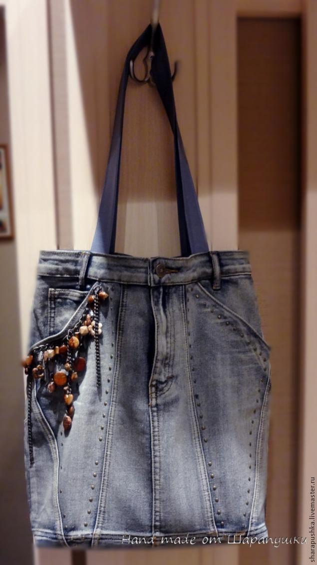 Сумка из джинсовой юбки