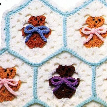 Vintage  Hexagon Teddy Bear Afghan