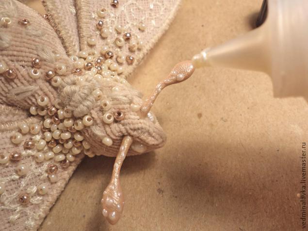 Текстильная брошь-мотылек, фото № 28