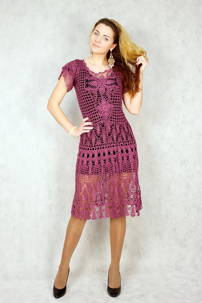 платье крючком, вязаное платье из хлопка