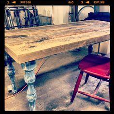 Handmade Farmhouse dining table with by RockyMountainTableCo