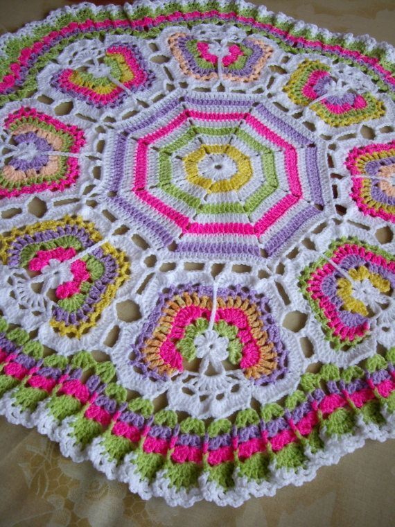 Butterflies Crochet Blanket...Granny Squares Baby Afghan...Colorful Newborn Blanket.....INSPIRATION
