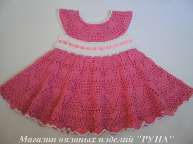 платья крючком, детское платье