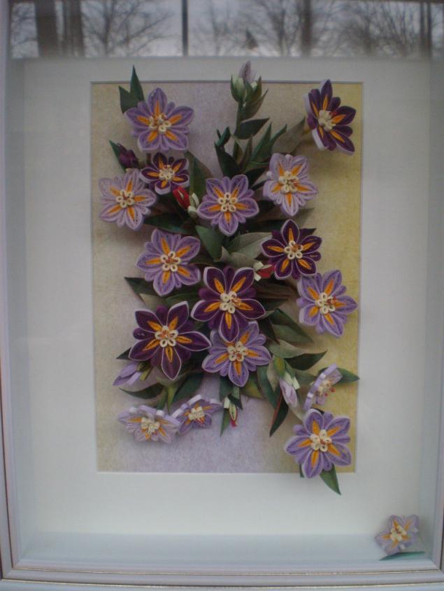 картины, цветы из бумаги, кружево