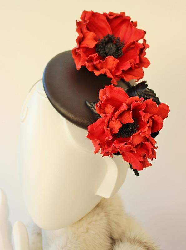 кожаная шляпка, кожаный цветок, цветы из кожи