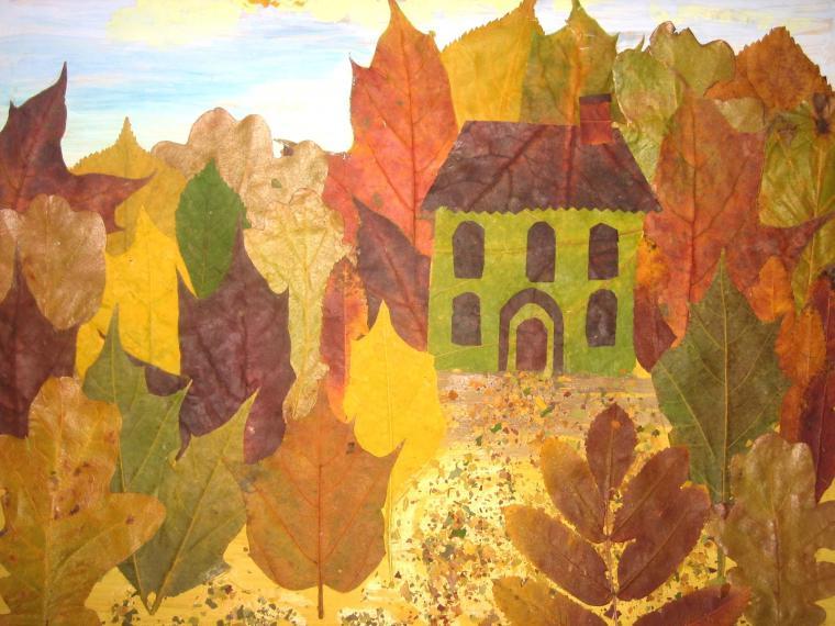 Поделка на тему осень из листьев фото