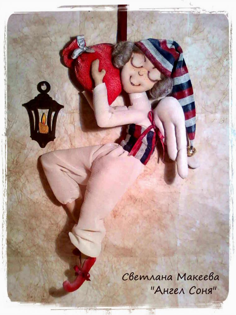 ангелочек, текстильная кукла