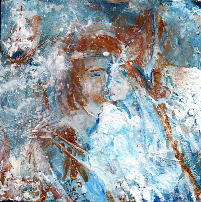 картина акрилом холст, картина царевна лебедь, картина морская сказка
