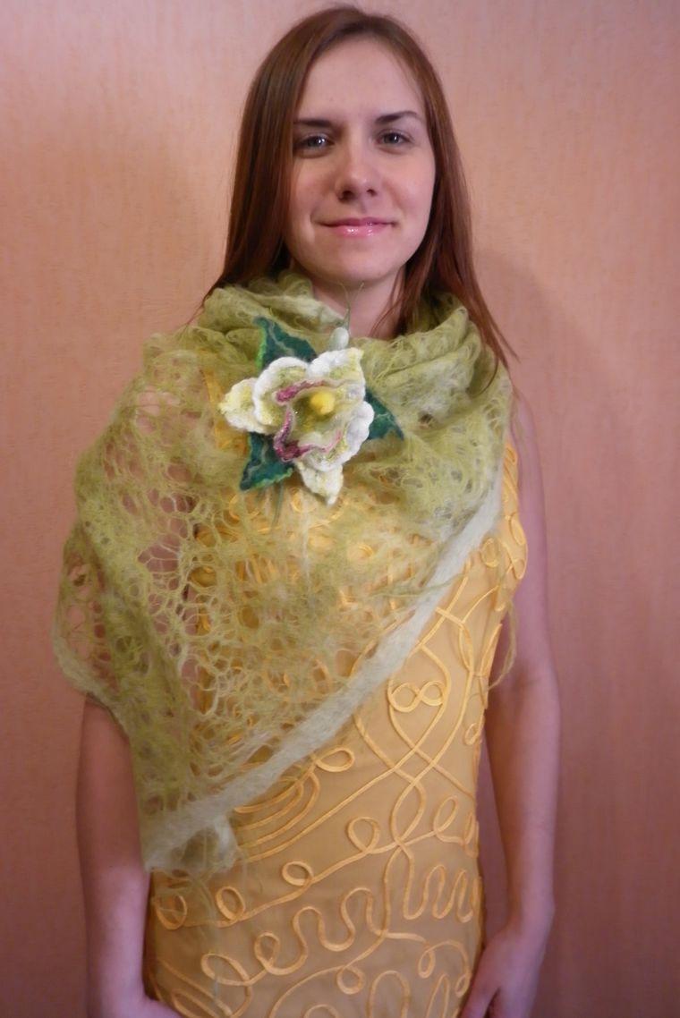 валяная шаль, светло-зеленый комплект
