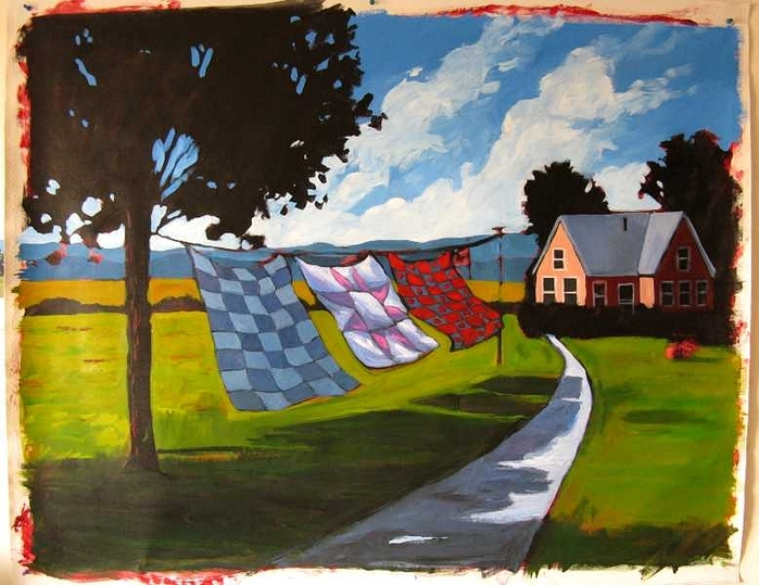 Quilts Blowing in Afternoon Breeze Commission (700x539, 294Kb)