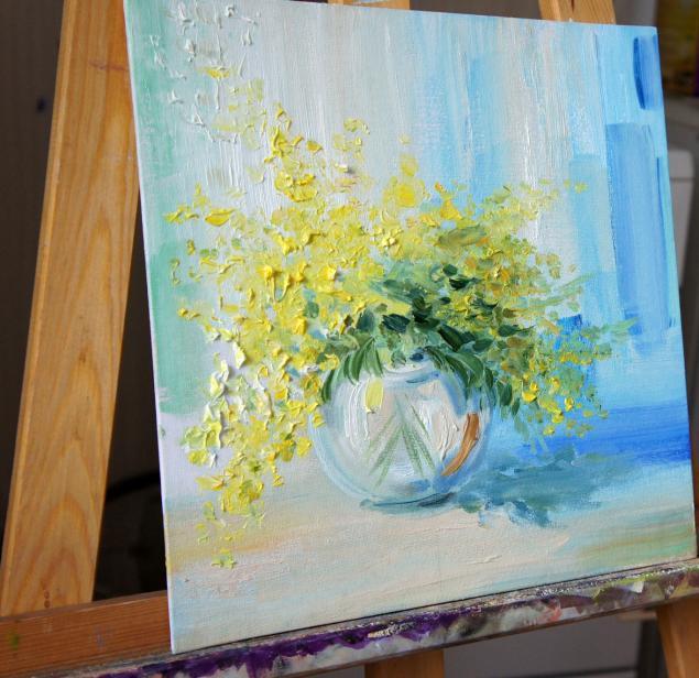 картины, картина, живопись, весна, весеннее настроение, цветы, мимоза
