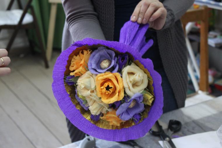мастер-класс, тюльпаны из конфет