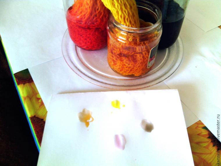 Красим старый шарф с помощью красителей для яиц, фото № 9