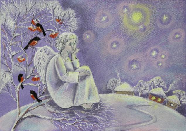 акция к новому году, пастель, лошадка, снегирь, зима, лошадь, звезды, картина пастелью, картина в детскую, подарок на новый год