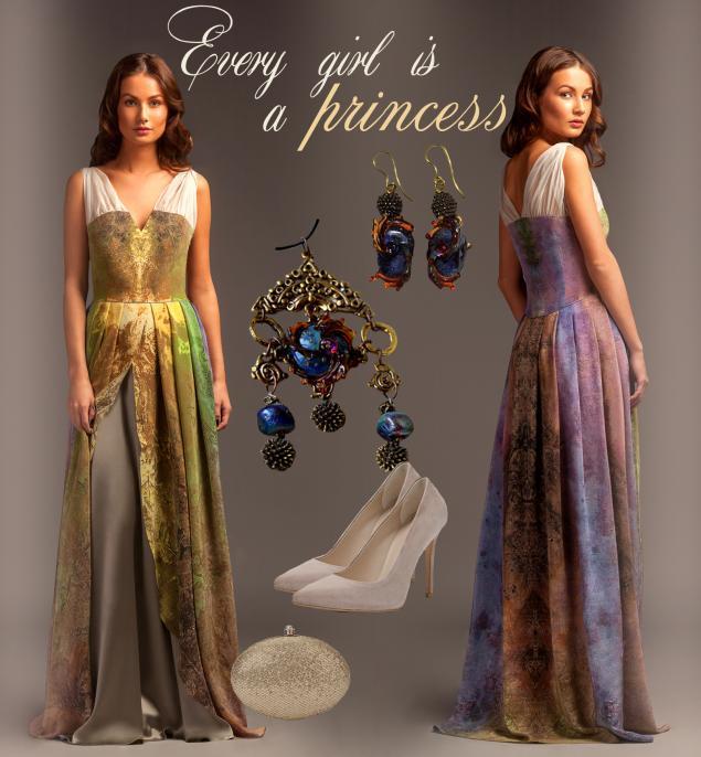 дизайнерская одежда, платье, шелковое платье, платье в пол, выпускной, принт, натуральный шелк, pavocreations, вечернее платье, дизайнерские украшения, lampwork