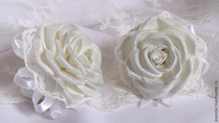 Создаем заколки с кружевом и золотыми розами из фоамирана, фото № 25