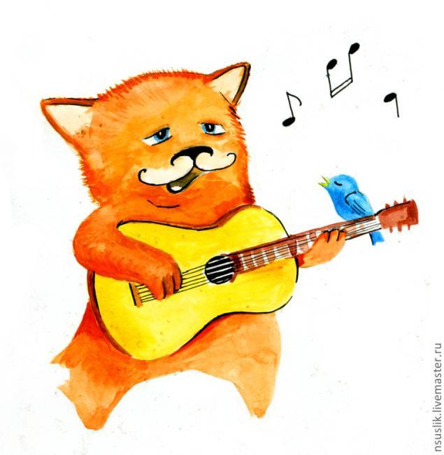 Кот гитара рисунок
