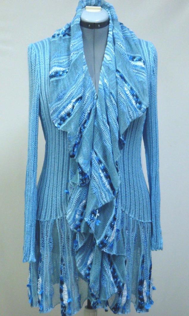 аукцион кондриной елены, дизайнерская одежда, голубой, вязаный жакет