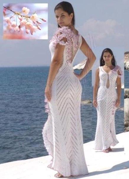 вязаное платье, вязание, схема, описание