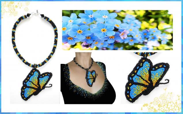 бабочка, кулон, подвеска, бисер, бусины, бисерный шнур, яркая, стильная, оригинальная, на шею