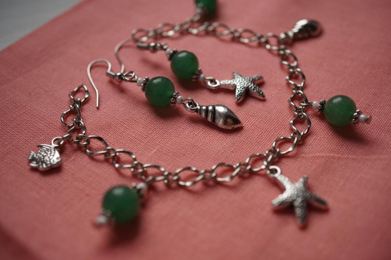 море, зеленый, ракушка, подарок, серьги, серьги ручной работы, летнее украшение