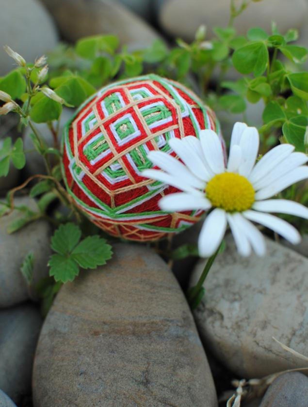 конфетка, розыгрыш, темари, шар, красный, стрекоза, яркий, япония