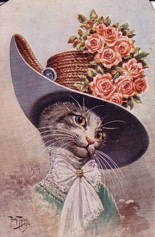 Старинные открытки о кошках, поздравления