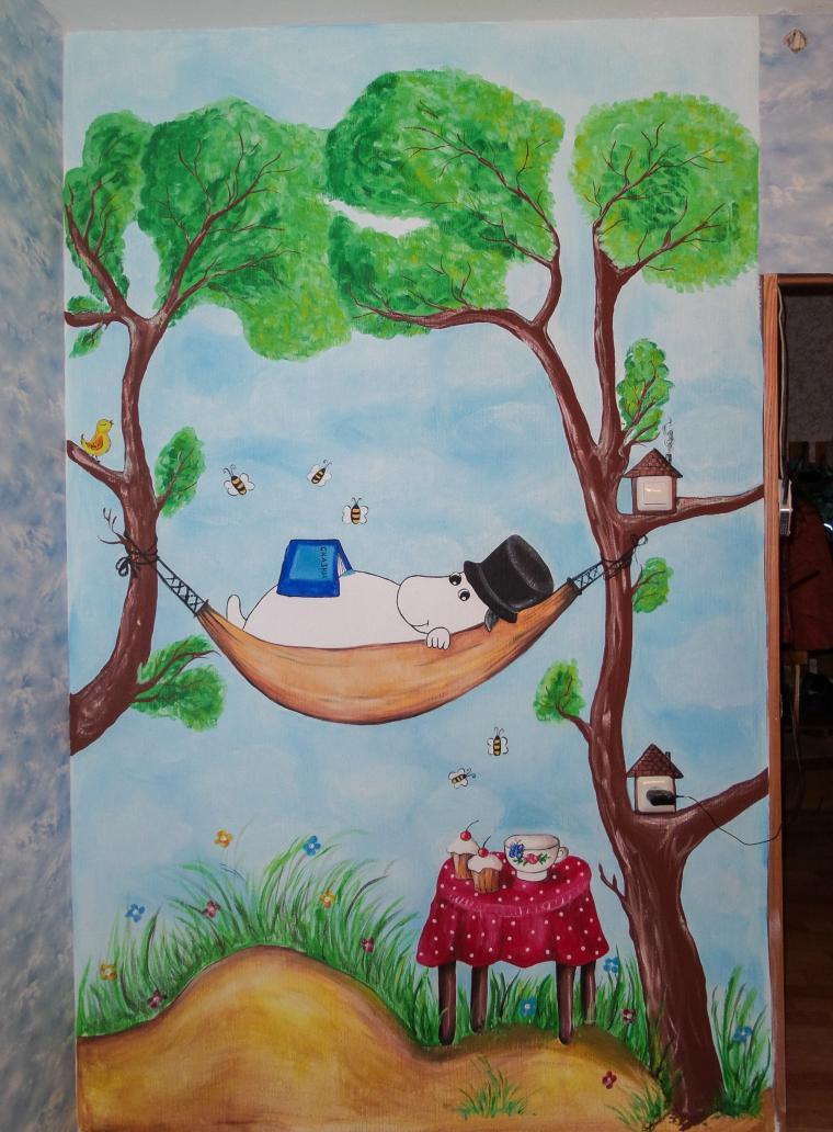 роспись стены, роспись детской, оформление детской, роспись стен на заказ
