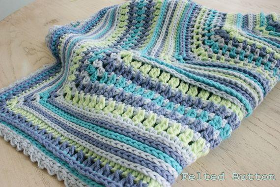 Felted Button:: Breath of Heaven Baby Blanket Crochet Pattern