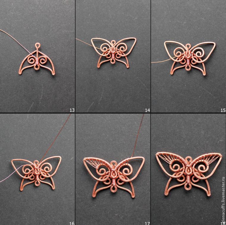 бабочки, сделать серьги wire wrap