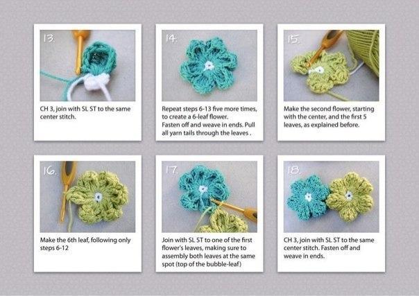 цветы, мастер-класс по вязанию, винтажный стиль