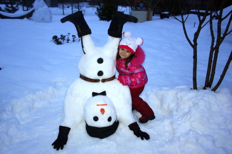 развлечение, снеговик, отдых, с детьми