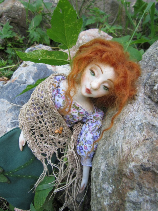 кукла, коллекционная кукла, фото, природа, рыжая кукла