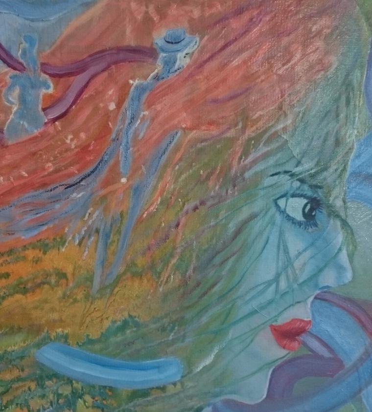картина маслом, дешевая картина, авторская картина, красивая, голубой, таслима лаптева